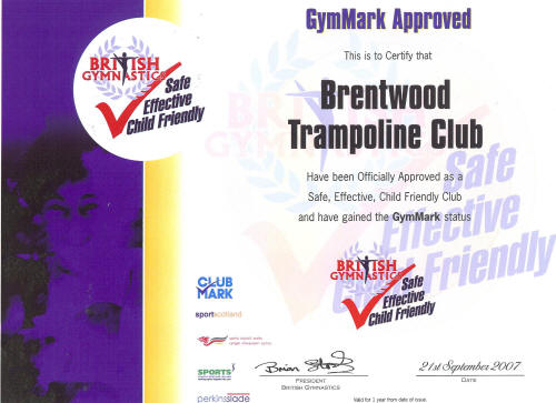 GymMark Accreditation certificate